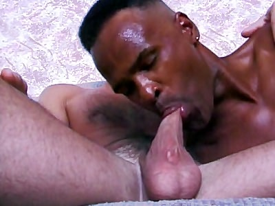 Black Gay sucking White Dick